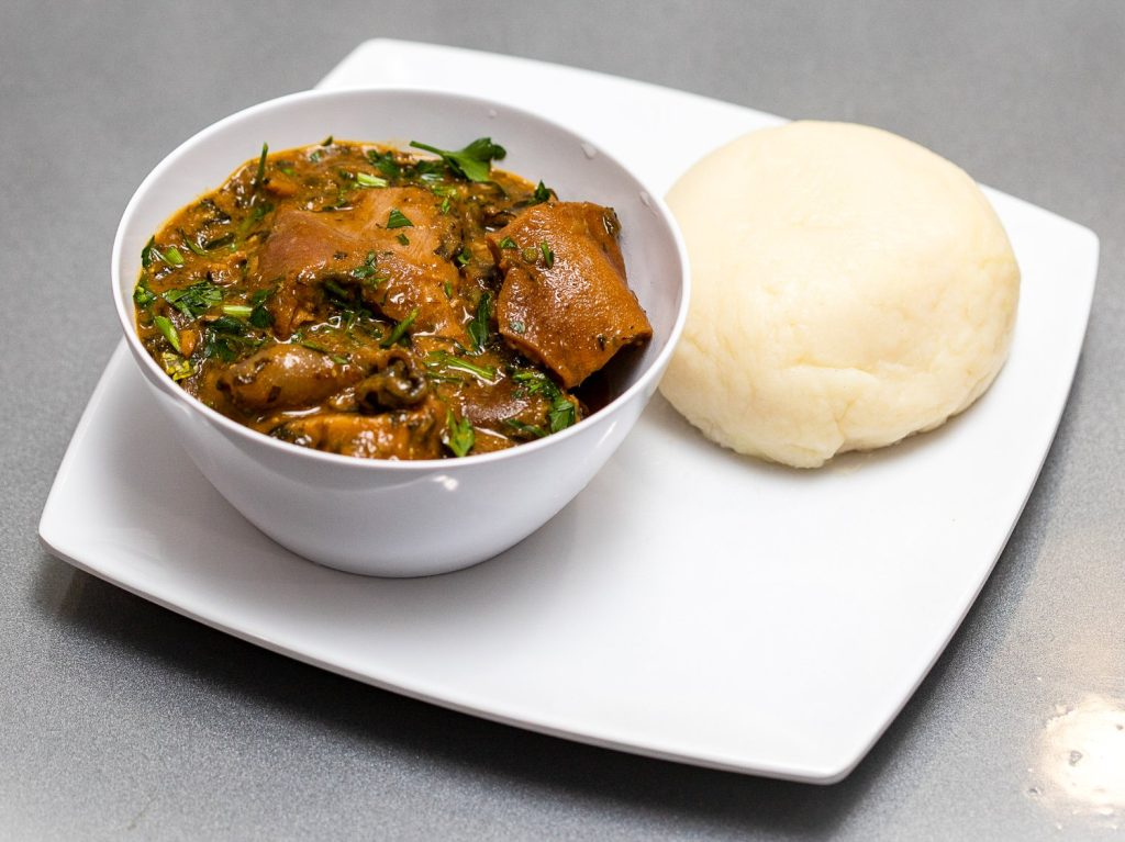 Keobi Ogbonno Soup with Iyan